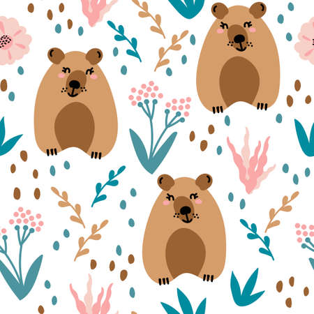 Illustration pour Seamless pattern with cute bears and floral elements, flowers, branches, leaves . Creative childish texture. Great for fabric, textile and other surface. Vector Illustration - image libre de droit
