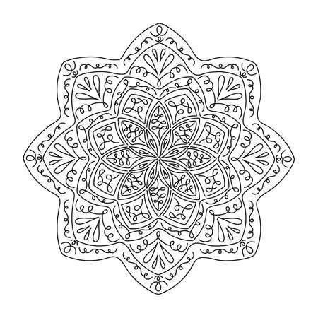 Illustration pour Ethnic and tribal mandala. Hand drawn decorative elements. Vector Oriental pattern for meditation, decoration, postcards - image libre de droit