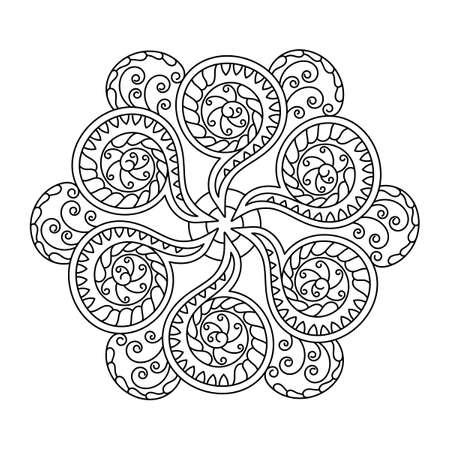 Illustration pour Coloring book mandala, decorative ornament in ethnic oriental style. Doodle flower pattern in black and white. Vector illustration. - image libre de droit