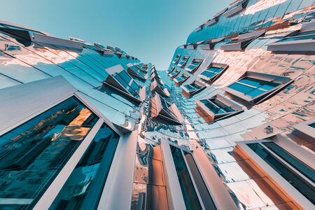 Foto de DUESSELDORF, GERMANY - JANUARY 22, 2017: The famous Chrome-Building in the New Media Harbor taken by a Fish Eye Camera in Color. - Imagen libre de derechos
