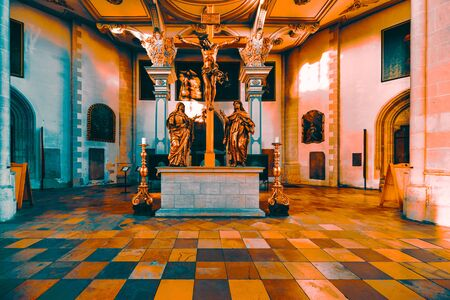Ingolstadt, GERMANY - January 31, 2019: The interior of the famous church Muenster zur schoenen lieben Frau impresses with rich christian ornaments and paintings.