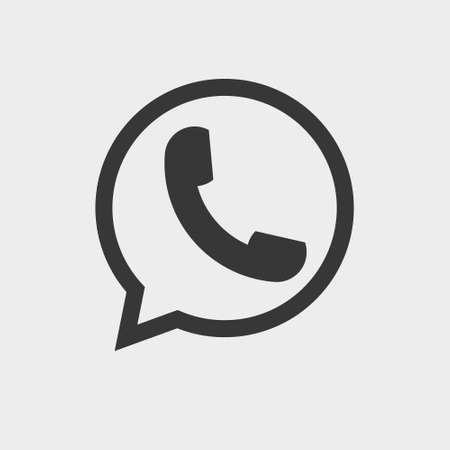 Illustration for Vector flat icon phone handset. Telephone icon, Phone in Bubble Icon Vector - Royalty Free Image