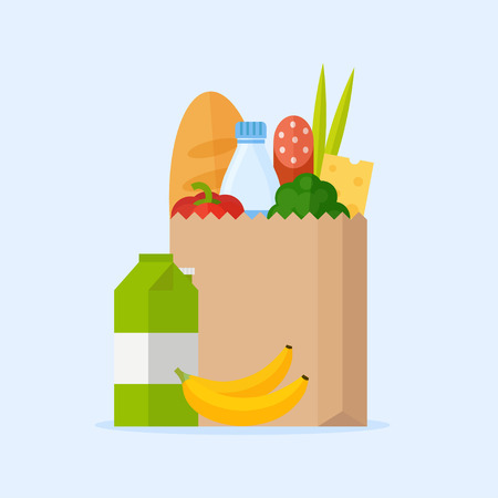 Illustration pour Paper bag with fresh food. Market bag full of products. Shopping bag with natural food. Concept shopping in a market. Grocery bag with vegetables and fruits. Shopping at the grocery store. - image libre de droit