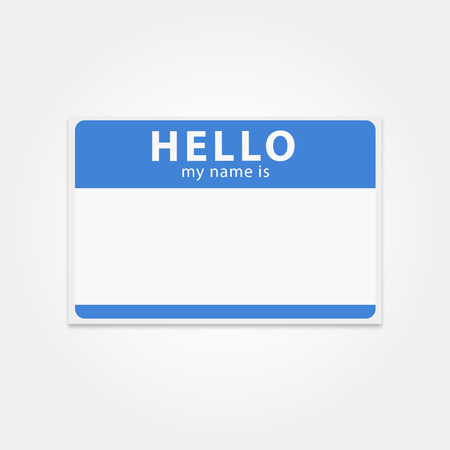 Illustration pour Blank template tag my name is. Rectangular name badge. Clean hello sticker. Blue hello badge.  Vector isolated name tag. - image libre de droit