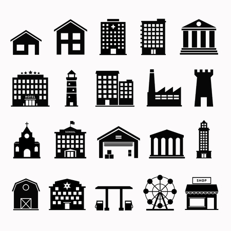 Illustration pour Building icons set. Building icon vector. Simple icon building. Urban icon building. Government building icons. Black icon hous. Flat symbol building. Set pictogram building. - image libre de droit