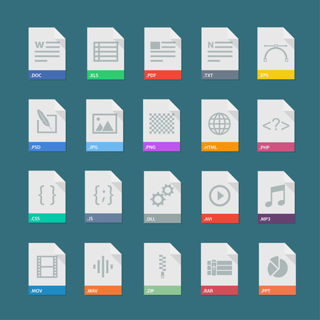 Illustration pour A set of flat icons of file formats. Signs of document types. Isolated set of documents file formats. Icons of file types on a colored background. Flat set of file extensions. Vector file labels. - image libre de droit