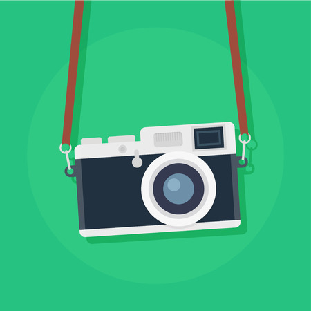 Illustration for Retro camera in a flat style. Vintage camera on a colored background. Old camera with strap. Isolated antique Camera. Hung retro camera. Retro Camera straps. - Royalty Free Image