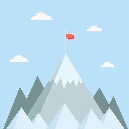 Illustration pour Mountain top vector illustration. Mountain peak in a flat style. Mountain with flag. Concept for illustration goals achievement, success. Mountain top with flag. - image libre de droit