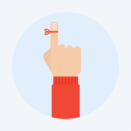 Reminder vector illustration. Reminder finger in a flat style. Reminder string concept. Don't forget the ribbon on a finger. Reminder icon.
