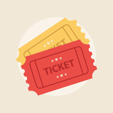 Illustration for Ticket icon in the flat style. Ticket vector illustration. Ticket stub isolated on a background. A ticket to the cinema or a concert. - Royalty Free Image