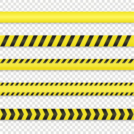 Police line and danger tape set. Warning tape vector illustration. Do not cross tape isolated on background. Caution tape. ?rime scene tape with shadow. Yellow black warning lines.