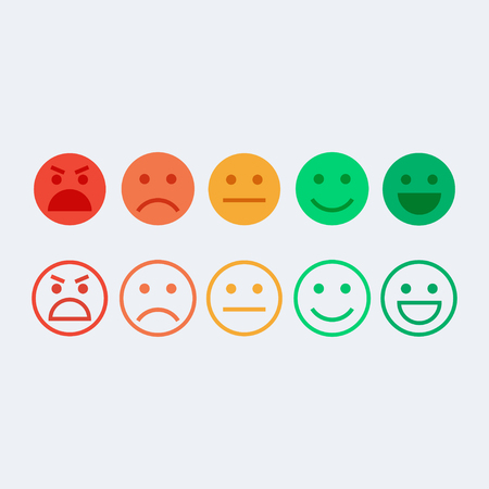 Illustration pour Feedback vector concept. Rank, level of satisfaction rating. Feedback in form of emotions, smileys, emoji. User experience. Customer feedback. Review of consumer. Feedback flat icon. - image libre de droit