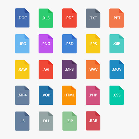 File type icon.  File extensions vector illustration. File type in flat style. Document types. File type symbol. File formats sign. Popular file type. File icons isolated. File type image.