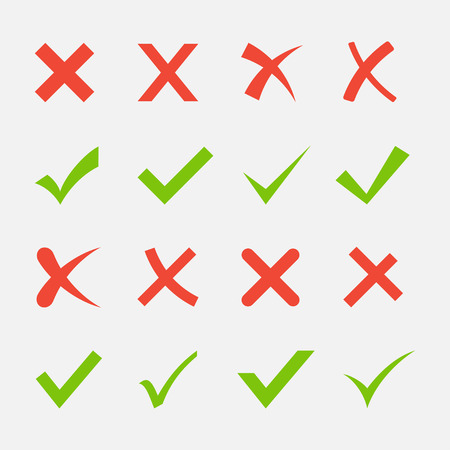 Illustration pour Red cross and green tick set. Yes and No icons for websites and applications. Right and Wrong signs isolated on white background. - image libre de droit