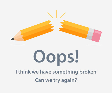 Illustration for Page template with a 404 error made in flat style. The page design of the web site with the error Page not found. Funny concept page with a 404 error. - Royalty Free Image