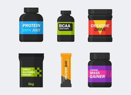 Vektor für Sports nutrition and supplements set isolated from the background. Icons protein, BCAA, creatine, glutamine, gainer and protein bars in a flat style. Symbols bodybuilding. - Lizenzfreies Bild