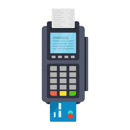 Ilustración de POS terminal vector icon in flat style, isolated from the background. Payment using POS machines for credit and debit cards. Banking and business services. - Imagen libre de derechos