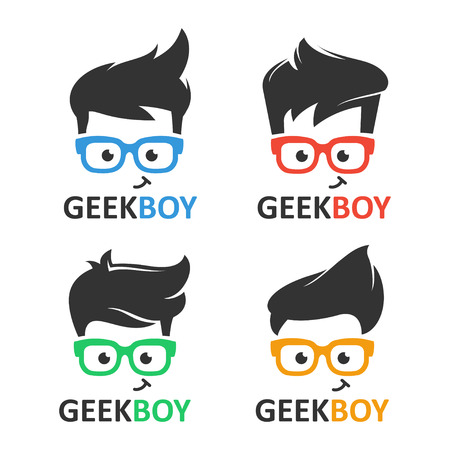 Illustration pour Geek or nerd logo vector set. Cartoon face smart boy with glasses. Icons for education, gaming, technological or scientific applications and sites. - image libre de droit