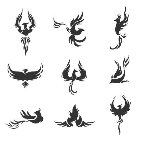 Ilustración de Phoenix bird stylized silhouettes icons on white background. Logo template in the form of a burning flying phoenix. - Imagen libre de derechos