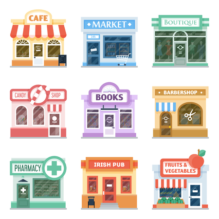 Illustration pour Shop front design ideas collection, retail storefront facade, decoration techniques, traditional shopfront display. Vector flat style cartoon illustration isolated on white background - image libre de droit