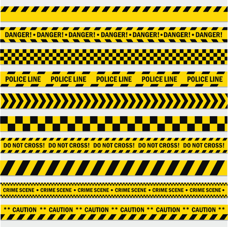 Illustration for Black and yellow stripes. Barricade tape, Do not cross, police, crime danger line, bright yellow official crime scene barrier tape. Vector flat style cartoon illustration isolated on white background - Royalty Free Image