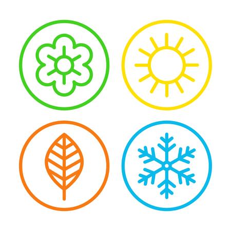 Ilustración de Four seasons icon set. - Imagen libre de derechos