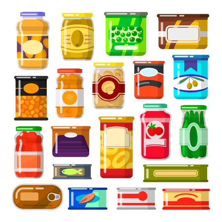 Illustration pour Canned goods set - image libre de droit