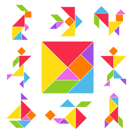 Ilustración de Tangram game set. Chinese geometrical puzzle, various color shapes to make from square cut into five triangles. Vector flat style cartoon illustration isolated on white background - Imagen libre de derechos