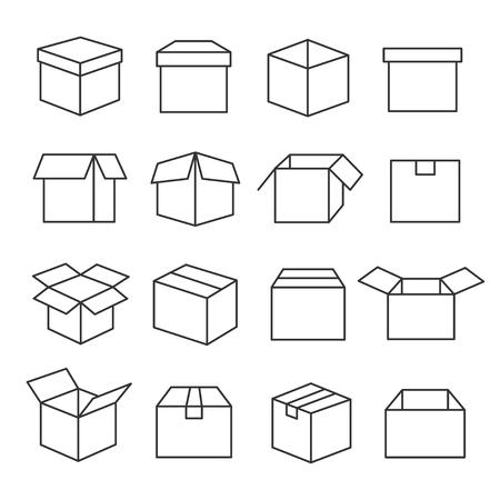 Ilustración de Carton boxes icon set in outline illustration. - Imagen libre de derechos