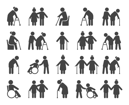 Illustration for Elderly people icon set. Old or ageing men black silhouettes, medical care and senior social programs poster. Vector flat style cartoon illustration isolated on black background - Royalty Free Image