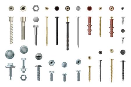 Illustration pour Screws and bolts realistic set, workshop and repair elements. Headed fasteners repair element. Vector illustration on white background - image libre de droit