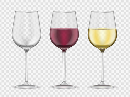 Illustration pour Wine glasses realistic style glassware bar set. Red and white wine glass collection, gourmet symbol. Vector illustration - image libre de droit