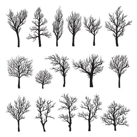 Illustration pour Trees without leaves black graphic silhouette icon - image libre de droit