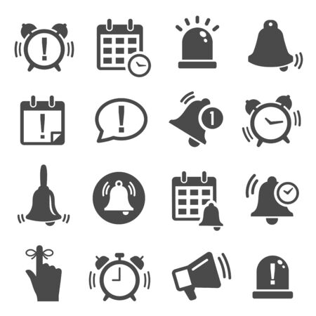 Illustration for Reminder, notification black and white glyph icons set - Royalty Free Image