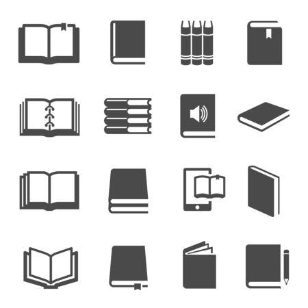 Illustration pour Different books black glyph icons vector set - image libre de droit