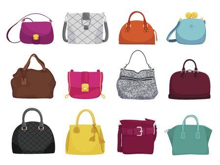 Illustration pour Fashionable woman bags flat vector illustrations set - image libre de droit
