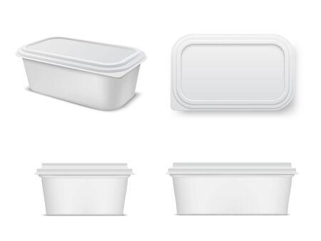 Illustration pour Plastic food container mockup set, storage and packaging - image libre de droit