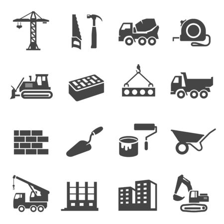 Illustration for Construction icons set, industrial business and professional tools. Engineering or building technology. Vector line art illustration on white background - Royalty Free Image