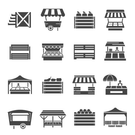 Illustration for Farmer vegetables market with cover icon set - Royalty Free Image