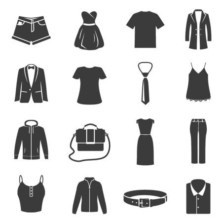 Illustration for Set of female, male dress, clothes black silhouette icons isolated on white. Accessories pictograms. - Royalty Free Image