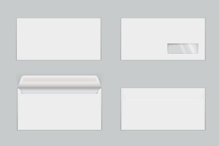 Illustration pour Paper envelopes with transparent window realistic mock ups set. Letters with gummed closure, open and closed. Front and back view. Empty blank vector template illustration isolated on grey background. - image libre de droit