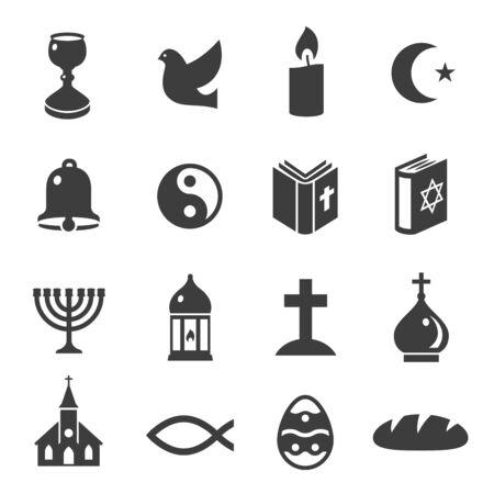 Illustration for World religious symbols black icons set isolated on white. Christianity, islam, judaism, taoism. - Royalty Free Image