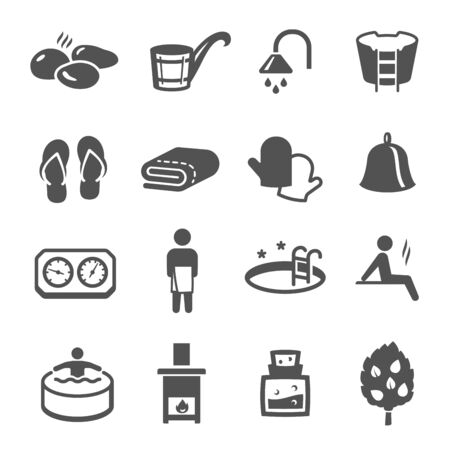 Illustration for Sauna, bath black icons set isolated on white. Wellness, spa, health and body care pictograms collection, logos. Recreation, relaxation, rehabilitation, bathhouse vector elements for infographic, web. - Royalty Free Image