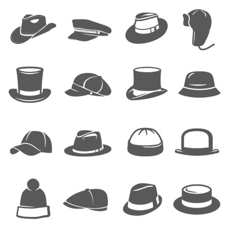 Illustration for Hat icon set, traditional head wear accessory - Royalty Free Image