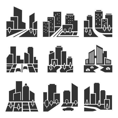 Illustration for Residential area, housing estate silhouette icons set isolated on white. Cityscape, town. - Royalty Free Image