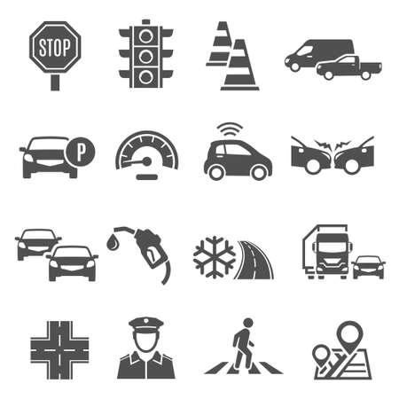 Illustration for Traffic lights, jam, crosswalk bold silhouette icons set isolated on white. - Royalty Free Image