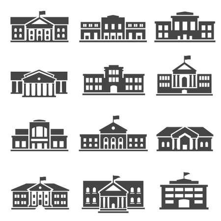 Photo pour School, university bold black silhouette icons set isolated on white. College buildings. - image libre de droit