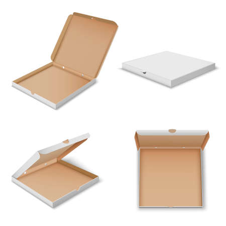 Illustration pour Pizza carton boxes realistic mockups set open, closed. Fastfood cardboard square packaging. - image libre de droit
