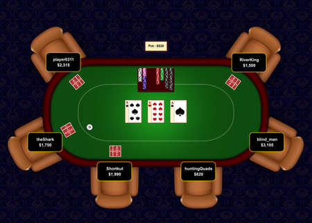 Online poker table with flop revealed in a game of Texas Hold 'Em.