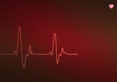 Medical heartbeat monitor (electrocardiogram) with red background and heart symbol